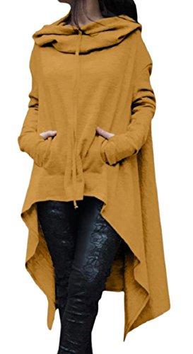 Hoodie Zhaoabao Lungo Superiore Giallo Colore au Irregolare Di Vestito Bordo Coulisse Del Donne Delle 4Uqqcwr50