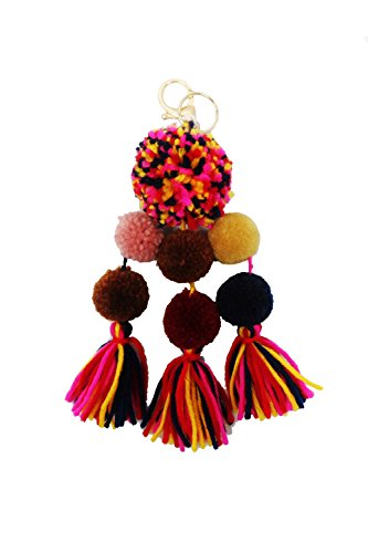 Chain Fringe - Womens Multi Fun Cute Soft Fringe Ball Pompom Keychain MK00 (One Size, Pink/Black (MK0014))
