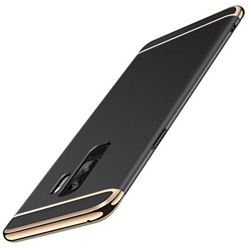 Coque Galaxy S9, Galaxy S9+ Adamark 3 en 1 Non Slip Surface Antichoc Etui Electro Placage Texture Protector Dur Coque Pour Samsung Galaxy S9/S9 Plus étui Rigide Case Cover (Galaxy S9, Or Rose) Noir