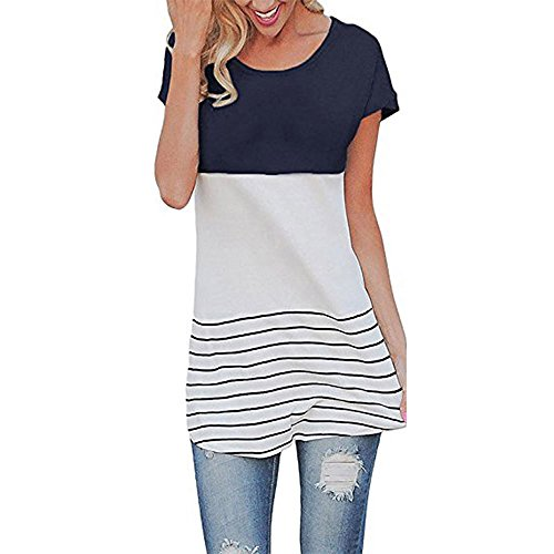 Women Maternity T-Shirt, Short Sleeve Stripe Casual Round Neck, Pregnancy Side Ruched Fashion Style Blue