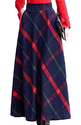 KLJR Women High Waist Winter Thick Wool Print Flare Long Skirt with Pockets