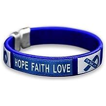 Dark Blue Ribbon Colon Cancer Awareness Bracelet - Adult Size (Retail)