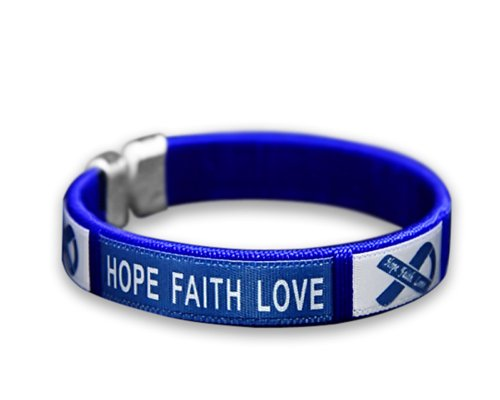 - Dark Blue Ribbon Colon Cancer Awareness Bracelet - Adult Size (Retail)