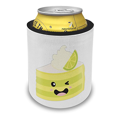 NEONBLOND Key Lime Pie Slice Cute, Kawaii Food with Face Japanese Slap Can Cooler Insulator Sleeve - Key Lime Pie Slice