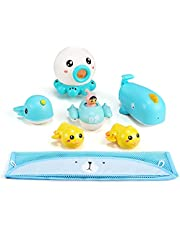 Bath Toy Set, 6-Piece Set of Hot-Selling Children's Toys, BaBy Children's Bathroom Toys, Children's Water Toys, With Storage Dags That Can Be Attached to The Wall, and Storage Nets.