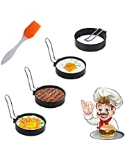 Egg Ring, Cozii 4 Pack Stainless Steel Egg Ring Molds with Non Stick Metal Shaper Circles for Fried Egg McMuffin Sandwiches,Frying Or Shaping Eggs,Breakfast Household Kitchen Cooking Tool Omelette