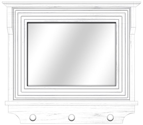 Ashton Sutton CXM004 3-Hooks Cottage Wood Mirror Frame, 22-Inch, White