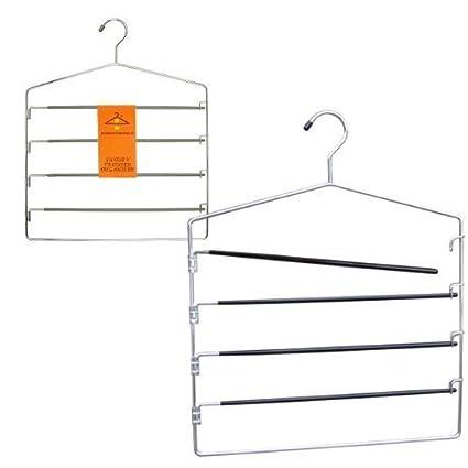 Hangerworld Set de Percha con 4 Barras Antideslizantes para Pantalones y Percha para 20 Corbatas
