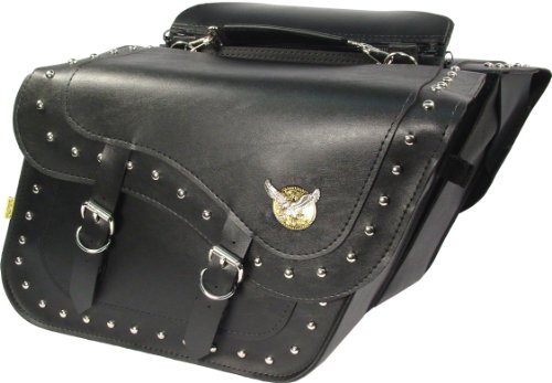 - Dowco Willie & Max 58727-01 Studded Series: Synthetic Leather Large Slant Motorcycle Saddlebag Set, Black, Universal Fit, 37 Liter Capacity