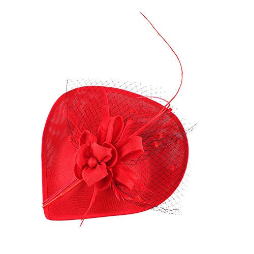 Veil Fascinator Hat with Clips Kentucky Derby Floral Headwear Cocktail Headdress Red