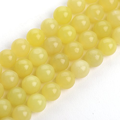 iSTONE Natural Lemon Jade Gemstone Round Loose Beads Yellow for DIY Jewelry Making 1 (Jade Beads Strands)