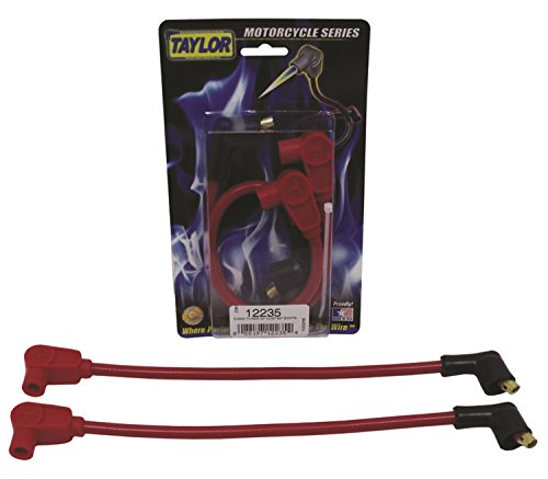 Taylor Cable 12235 ThunderVolt 8.2mm Motorcycle Ignition Wire Set Custom Fit Red 90 deg. Boots For Use w/Center Mount Coil 8.2mm ThunderVolt 8.2mm Motorcycle Ignition Wire Set