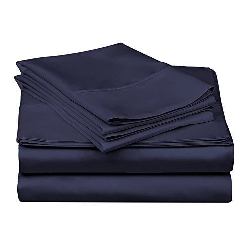 Rajlinen Ultra Soft Cozy 100% Percale Cotton 4 PCs Bed Sheet Set - 400 Thread Count 15 inch Deep Pocket - Extremely Smooth Stronger Durable Quality Bedding (Navy Blue Solid,Queen)