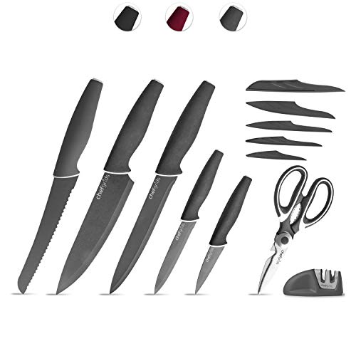 Chef Grids Super Grip Knife Set with Knife covers, Multi-Purpose Kitchen Scissor and Two Stage Sharpener | 12-piece Non Stick Kitchen Knives set, Grey