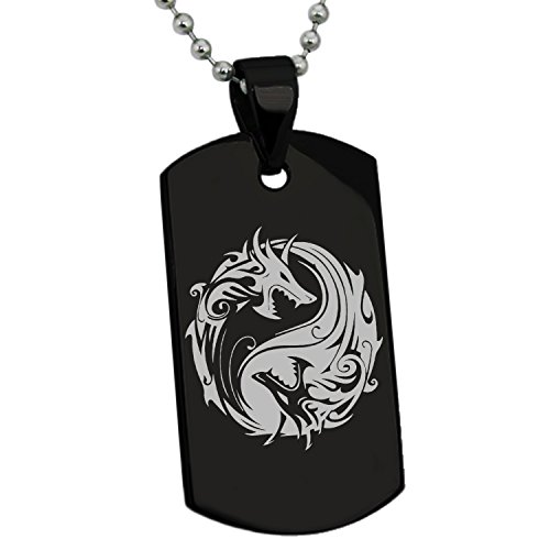 Tioneer Black Stainless Steel Tribal Dragon Yin Yang Symbol Engraved Dog Tag Pendant Necklace -