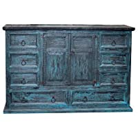 Rustic Mansion Turquoise Scraped Dresser * Western * Blue * Antiqued * Wood *