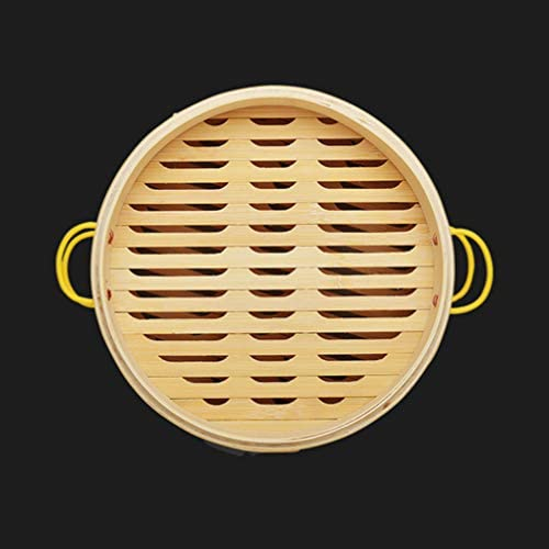 DOITOOL Natural Bamboo Steamer Basket Set with Handle and Lid 20cm Traditional Chinese Steamer Basket Food Steaming Pot for Dumpling Bao Bun Dim Sum     Description 2 pcs Bamboo Steamer Kitchen Round Buns Steamer Cookware Food Steamer Cooking Tools for Restaurant Home