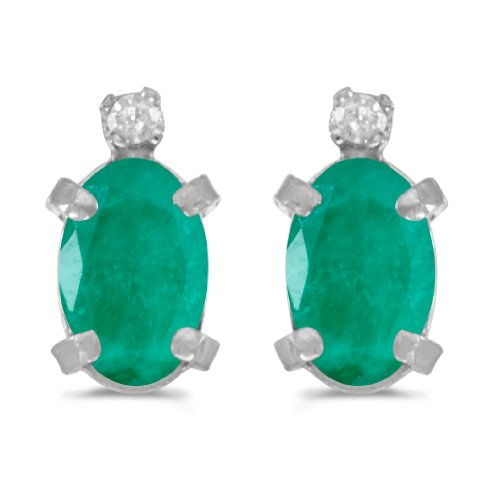 0.62 Carat (ctw) 14k White Gold Oval Green Emerald and Diamond Solitaire Stud Earrings with Post with Friction Back (6 x 4 MM) ()