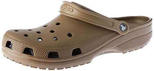 (Crocs Men's and Women's Classic Clog, Comfort Slip On Casual Water Shoe, Lightweight, Khaki, 14 US Women / 12 US Men)