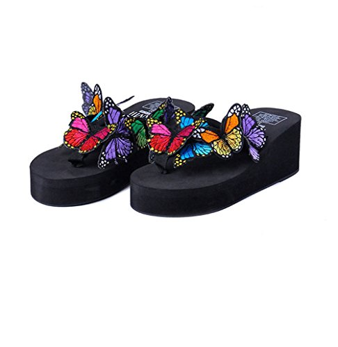 U-MAC Womens Flip Flops Platform Wedge Sandals Bohemian Butterfly Anti-Slip Summer Thongs Slippers Black