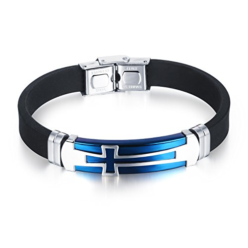 M.JVisun] Cross Silicone Sport Wristband Bangle Bracelet Stainless Steel Design, Black/Blue, 7.87 inch (Blue)