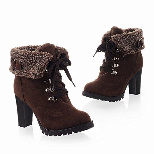 Lacets avec sans l'hiver pour Fourrure Femmes Marron Plateforme Haut Rond avec UH Chaussures Bloc Bout Talons Bottes à wqSIxPz