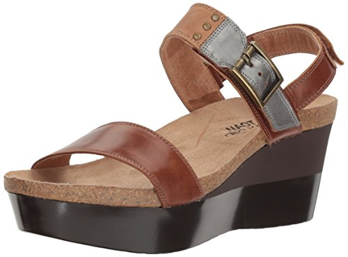 Sandalo Con Zeppa In Pelle Stampa Alpaca Naot Womens Marrone / Marrone Cuoio / Pelle Specchio