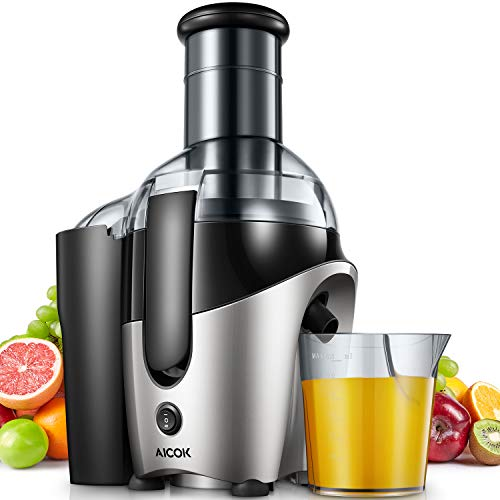 Juicer, Aicok Juice Machine with 75mm Wide Mouth, 500W Juicer Extractor Whole Fruit and Vegetable, Overload Protection Centrifugal Juicer with Non-Slip Feet, BPA-Free