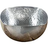 KINDWER Square Hammered Aluminum Bowl, 14-Inch, Silver