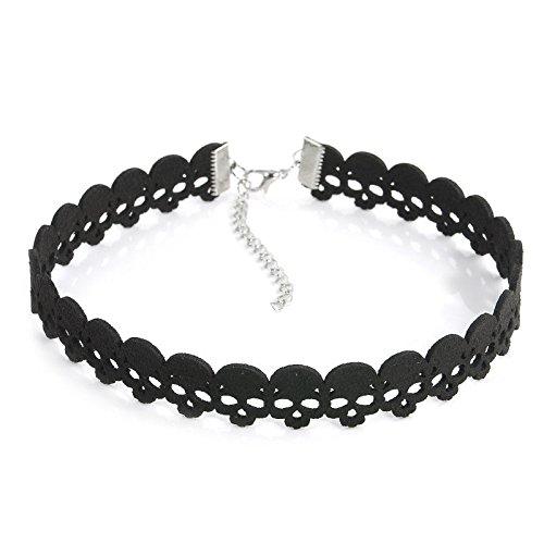 ERAWAN Gothic Retro Lace Choker Collar Lace Snowflake Pendant Chain Necklace Jewelry EW sakcharn (Black Skull) (Snow Gothic)