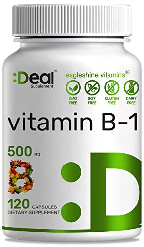 Deal Supplement Vitamin B1 (Thiamine), 500mg, 120 Capsules, Non-GMO, Made in USA (120 Caps)