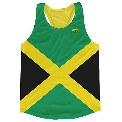 Jamaica Country Flag Running Tank Top Racerback Track and Cross Country Singlet Jersey, Green Black, Youth Large