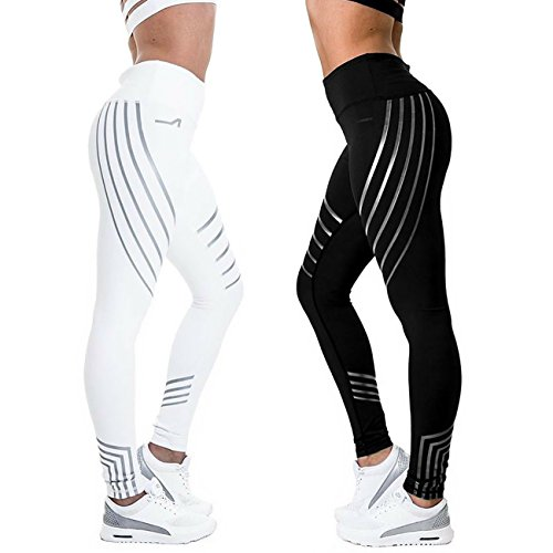 CFR New High Waist Leggings Casual Workout Active Sport Yoga Pants Ankle-Length Nine Pants Stretch Skinny Tights White,M USPS Post