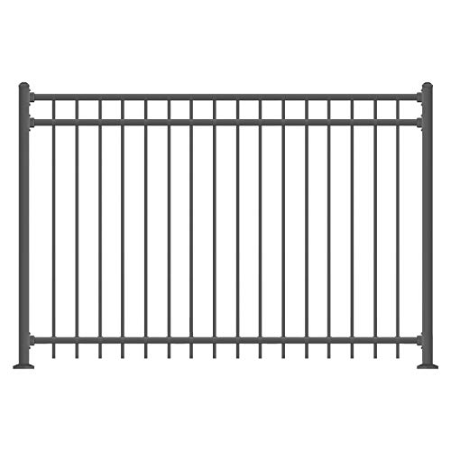 XCEL - Black Steel Fence Panel Cortina Style - 6.5ft W x 5ft H - DIY Installation Fence Kit, Outdoor Fencing for Yard, Garden, Concrete, 3-Rail Rackable, Include a Fence Post, Powder-Coated Mental ()