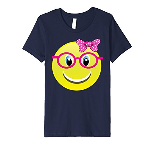 Kids Smiling Emoji Buck Teeth Girl Nerd Glasses Costume Shirt 8 (Nerd Outfits Girls)