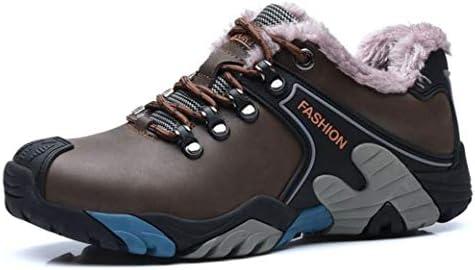 メンズトレッキング、ハイキングシューズ滑り止めの暖かいウォーキングシューズ冬のプラスベルベットのハイキングブーツアウトドアサイクリングキャンプ、雪と氷の天候 (Color : Brown, Size : 42)