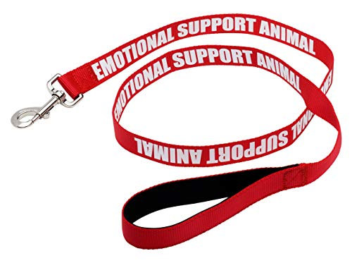"""Just 4 Paws Padded Emotional Support Dog Leash with Neoprene Handle & Reflective Print on Both Sides, 4 Foot Long, 2 Widths, for Harnesses, Vests or Collars, Red (Large 1"""" X 4"""
