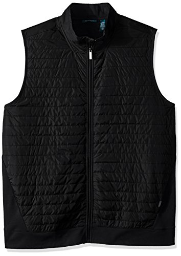 Perry Ellis Men's Big and Quilted Mix Media Zip Vest, Black, X-Large/Tall