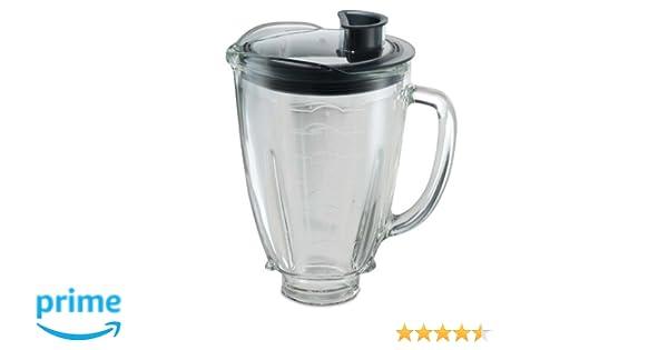 Oster 004936-050-000 - Jarra de vidrio redonda 6 tazas (1.5 l) con tapa redonda, color negro y tapón de llenado: Amazon.es: Hogar