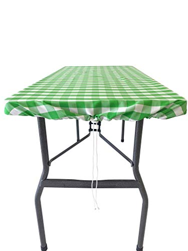 Drawstring Tablecloth by TableSnugg | The Original Adjustable Fitted Tablecloth | Windy Day Picnic, Barbeque and Tailgating | Better Than Elastics | Mini Size 4' x 2' (Lime Green Gingham)