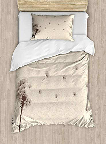 MIGAGA Cream Duvet Cover Set Twin Size, Blown Dandelion Blossom and Flying Fluffy Petals Fragile Garden Meadow Plant Vintage, Decorative 2 Piece Bedding Set with 1 Pillow Sham, Cream Brown
