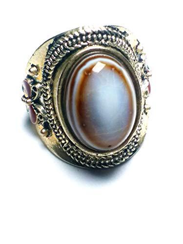 Agate Stone Ring (yigedan Vintage Sterling Silver Evil Eye Agate Gemstone Adjust Ring)
