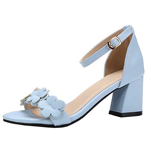 Mujer Azul Flower Sandalias Zapatos Tacon Sweet Mid Zanpa d0qwx8Cd
