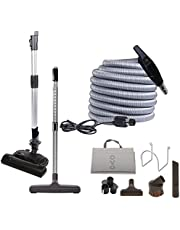 OVO Central Vacuum Carpet Deluxe Accessory Kit, with 30ft High-Voltage Hose with Pigtail, On-Off Switch at The Handle, 6 Adjustable Heights Electric Carpet Beater, 12'' Floor Brush and Accessories.