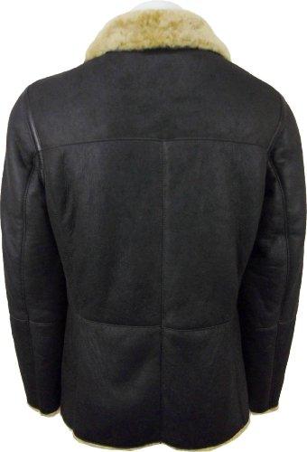 UNICORN Hommes Double Boutonnage peau de mouton Veste Brun avec fourrure de brun En cuir Veste Manteau #DD
