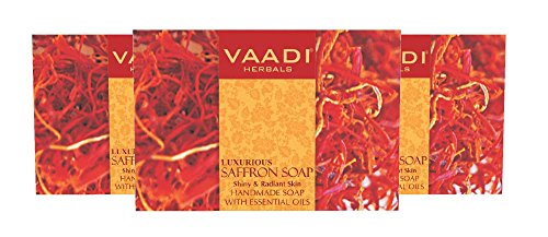 - Saffron Soap (Saffron Bar Soap) with Goat Milk - Handmade Herbal Soap (Aromatherapy) with 100% Pure Essential Oils - ALL Natural - Skin Whitening Therapy - Each 2.65 Ounces - Pack of 3 (8 Ounces) - Vaadi Herbals
