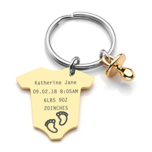 Pacifier Personalized Baby Shower - JOVIVI Personalized Custom Baby Statistics Jumpsuits Pacifier Charm Footprint Birth Announcement Keychain Key Ring Baby Shower Gift for New Parents