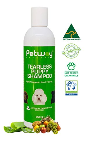 PETWAY Petcare Tearless Puppy Shampoo – Sensitive Tear Free Puppy Shampoo – Hypoallergenic, Free of phosphates, parabens and enzymes Puppy Moisturizing Shampoo – Gentle on Puppies Eyes - 250ml - Sensations Scented Shampoo