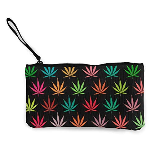 NOWDIDA Women's Canvas Zip Around Wallet Ladies Clutch Travel Purse Wrist Strap Colorful Cannabis