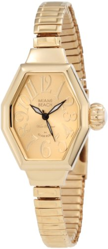 Glam Rock Women's MBD27153 Miami Beach Art Deco Gold Tone Dial Gold Ion-Plated Stainless Steel Watch